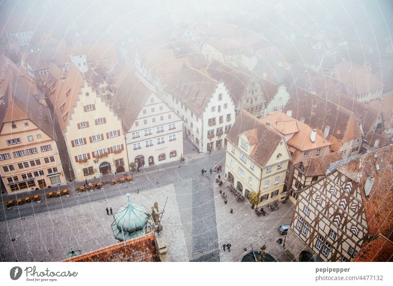 Rothenburg ob der Tauber from above Germany Bavaria Vacation & Travel Colour photo Exterior shot Tourism from on high top-down tourist region travel