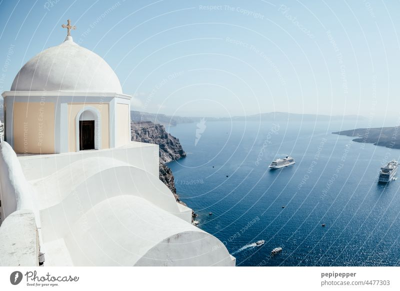 Santorini with ferry boats in the background Island Islands String of islands Greece Ocean Blue Exterior shot Mediterranean sea Cyclades the Aegean Colour photo