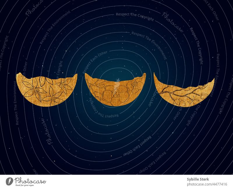 Three golden moon crests with flower elements in a nightsky moon crescent half moon flower moon stars night sky romance astrology astronomy space universe