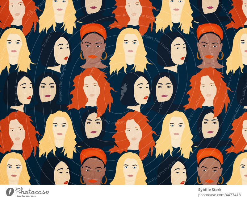 multi ethnic women pattern stronger together multi ethnical world women's day african women asian women european women muslim women feminism feminist