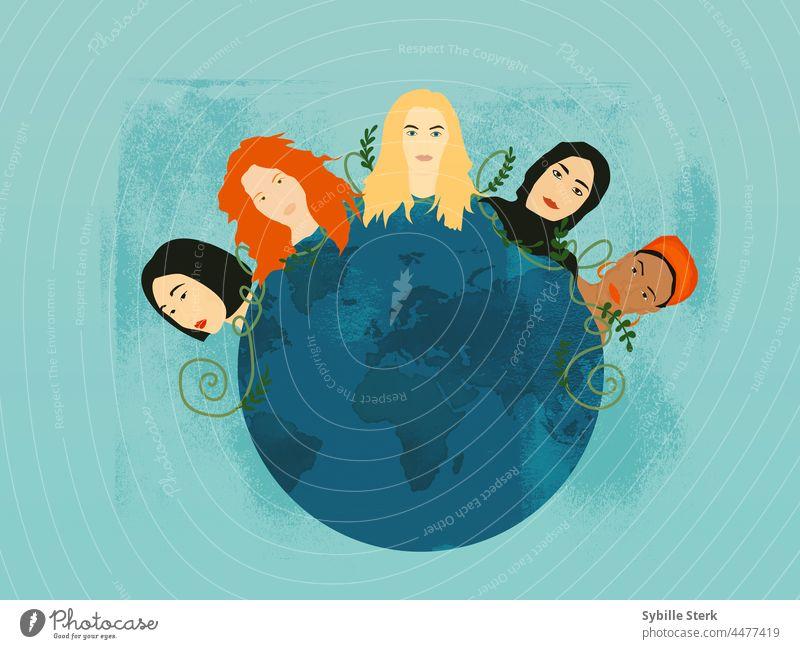 multi ethnic women planet woman world women's day earth conceptual emancipation feminism feminist women of colour muslim women asian women European women
