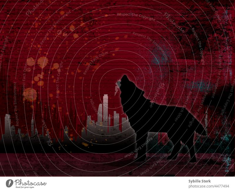 the mystery howling wolf in front a of an abstract cityscape apocalyptic climate climate crisis ecology global warming end of days factories nature destruction