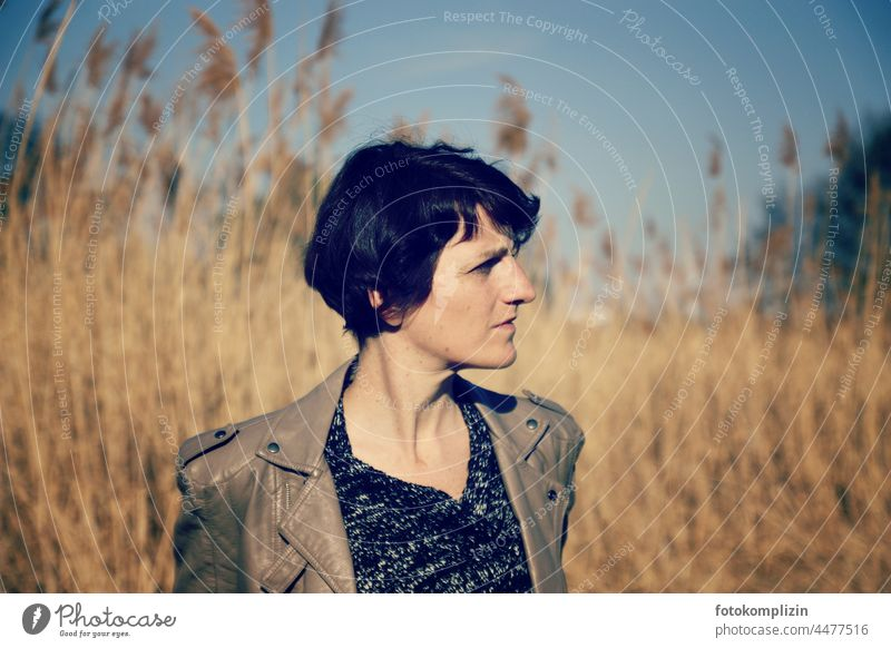 Portrait of woman in late summer autumnal mood Woman Face of a woman portrait Identity Authentic Feminine Self-confident naturally Girl power Emotions Moody
