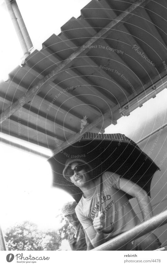 patronage Umbrella Corrugated iron roof Macho Posture Man Sun
