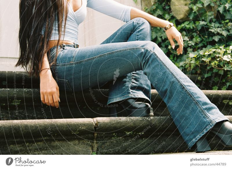 blue jeans Top Long-haired Jeans Woman Chest Legs long legs