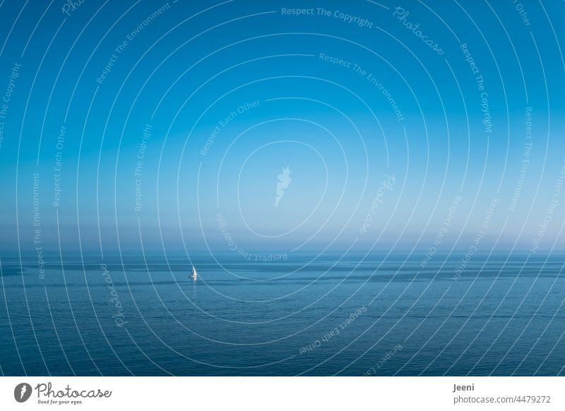 The wide foggy sea and a lonely sailboat Fog Shroud of fog Ocean ocean Maritime Baltic Sea Sailboat Sailing ship Small Large Blue huge Water Vacation & Travel