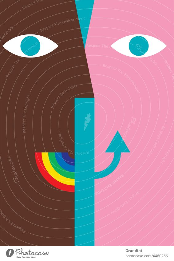 Face to face Illustration Lifestyle Smile Rainbow Heads Faces Meeting