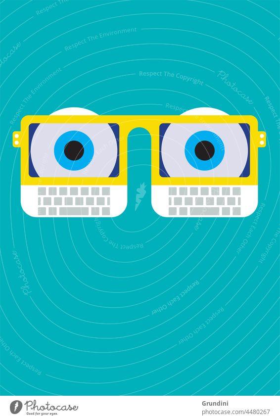 Computer eyes Illustration Lifestyle Heads Faces laptop glasses