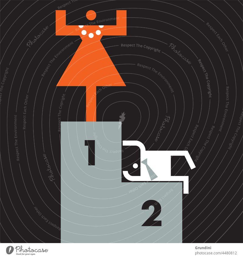 The winner Work Illustration Office Characters Leadership winning