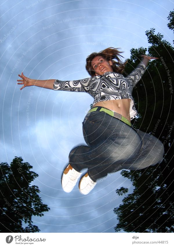 Woman Sky Tree Blue Clouds Jump Movement Jeans Practice