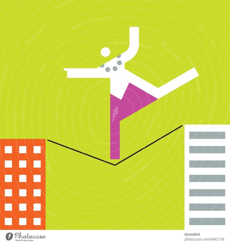 Risk Work Illustration Office Characters Leadership winner winning Tightrope Buildings