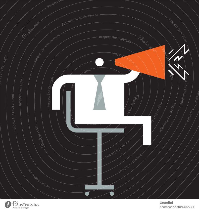 Megaphone Work Illustration Office Characters Leadership winner winning Speech