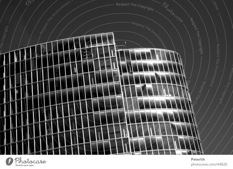 White Black Window Architecture High-rise Round Duesseldorf