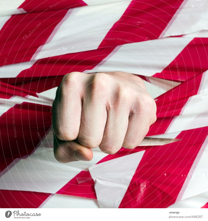 1700 | Breakthrough Career Success Fist Sign Stripe Aggression Strong Red White Power Willpower Brave Communicate Force Revolution Beat Anger Breach