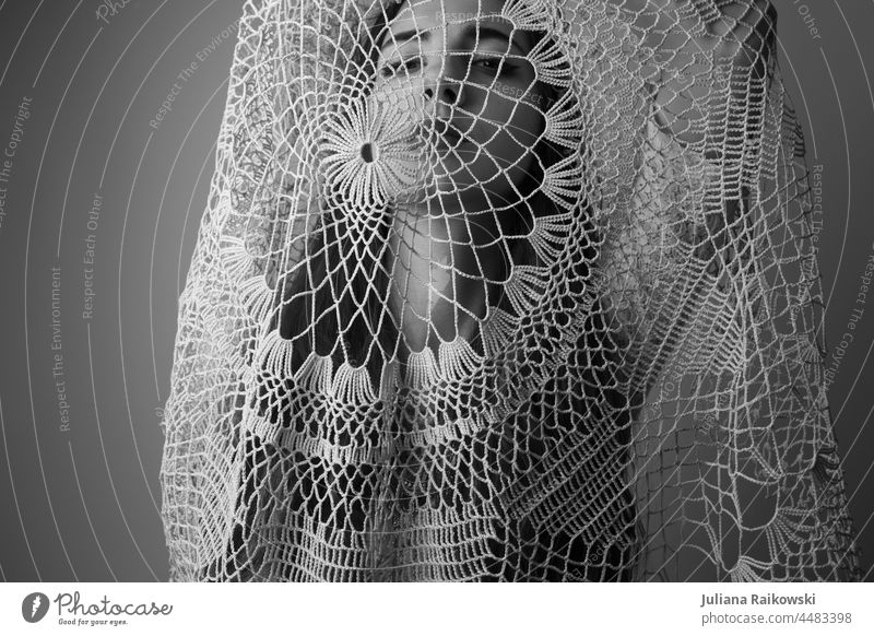 Woman under lace cloth black white portrait Black & white photo Face Looking Lascivious pretty Feminine 18 - 30 years Long-haired Looking into the camera