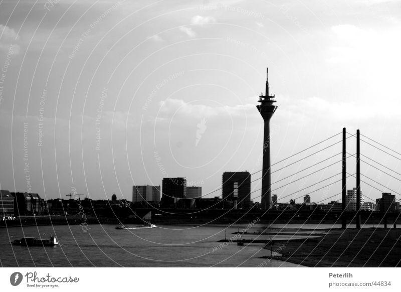 port et pont Black White Watercraft Meadow Beach Europe Duesseldorf Bridge Harbour Skyline Rhine Television tower