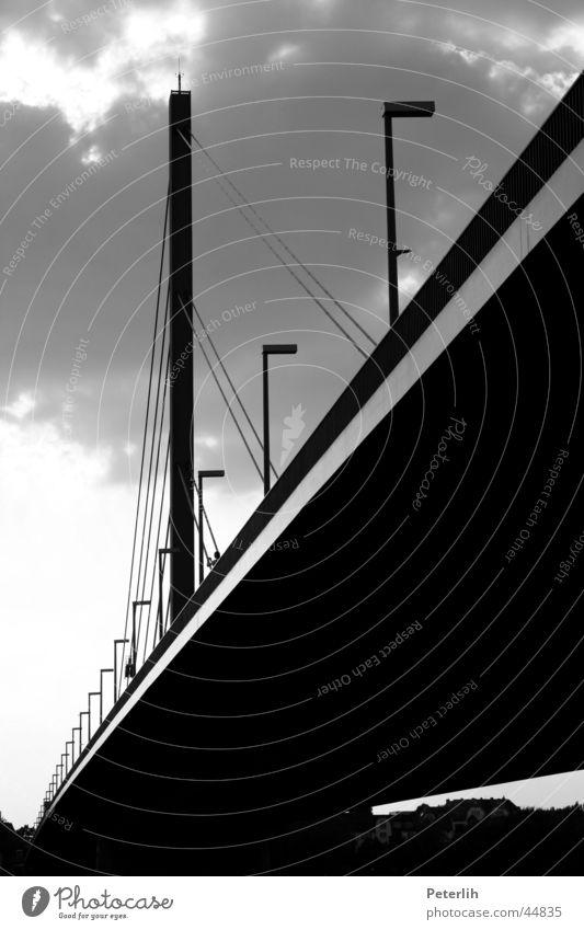 White Black Clouds Lamp Dark Bridge Under Lantern Duesseldorf Oberkasseler Bridge