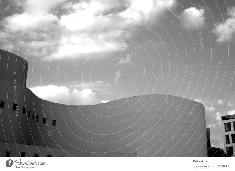 White Black Clouds Waves Architecture Concrete Theatre Duesseldorf