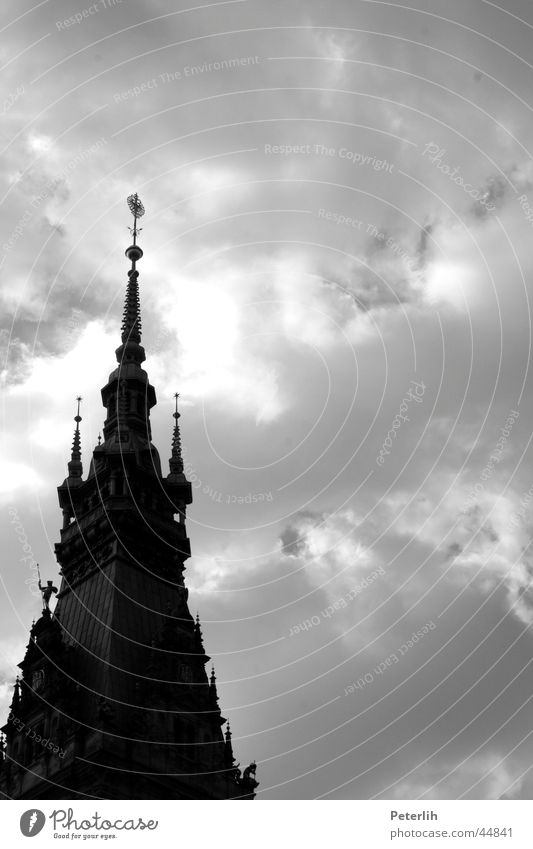 Sky White Black Clouds Dark Architecture Hamburg Roof Point Domed roof City hall