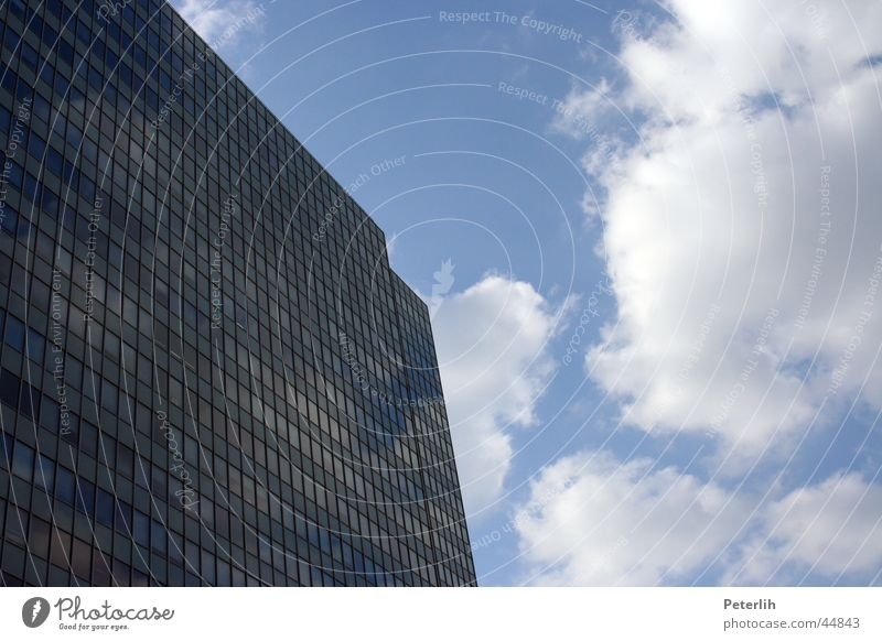 high up High-rise House (Residential Structure) Window Clouds Architecture Thyssen croup Duesseldorf Sky Blue