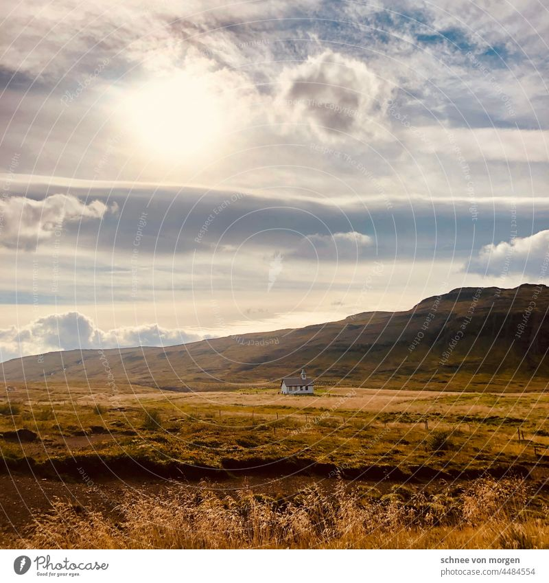 yellow sunlit land Iceland Landscape Field Church Sky Nature Exterior shot Deserted Colour photo Building Religion and faith Clouds Beautiful weather