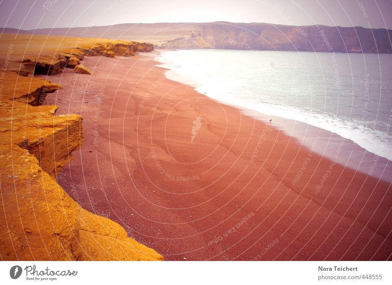 red beach Harmonious Relaxation Calm Meditation Swimming & Bathing Island Environment Nature Landscape Earth Sand Fire Water Climate Weather Mountain Waves