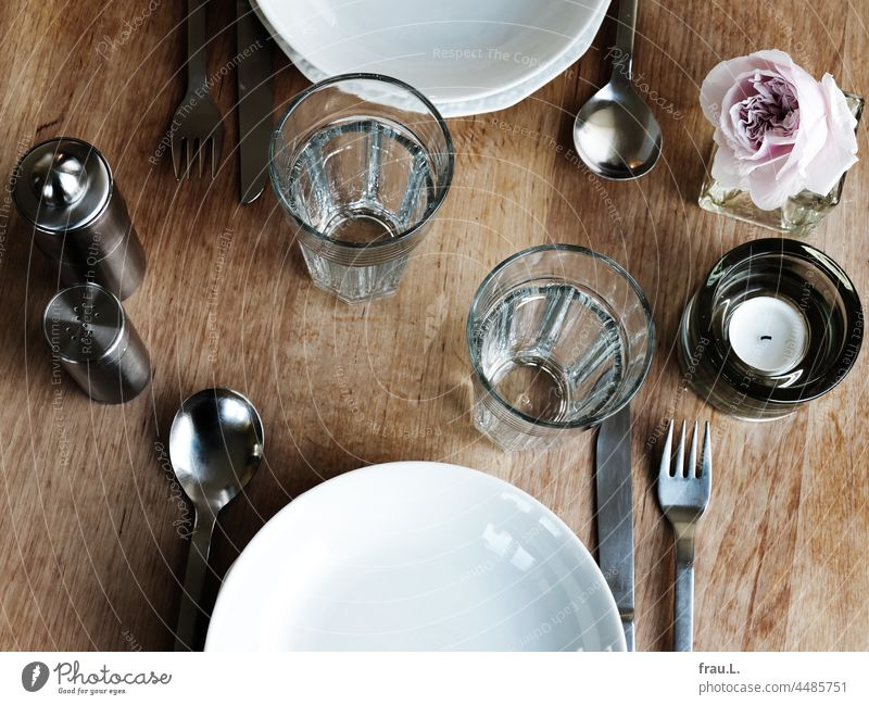 laid table Tea warmer candle Eating Cutlery Plate Table pink Glass Tumbler Glasses Pepper mill Salt caster Vase Dinner Knives Fork Spoon Wooden table