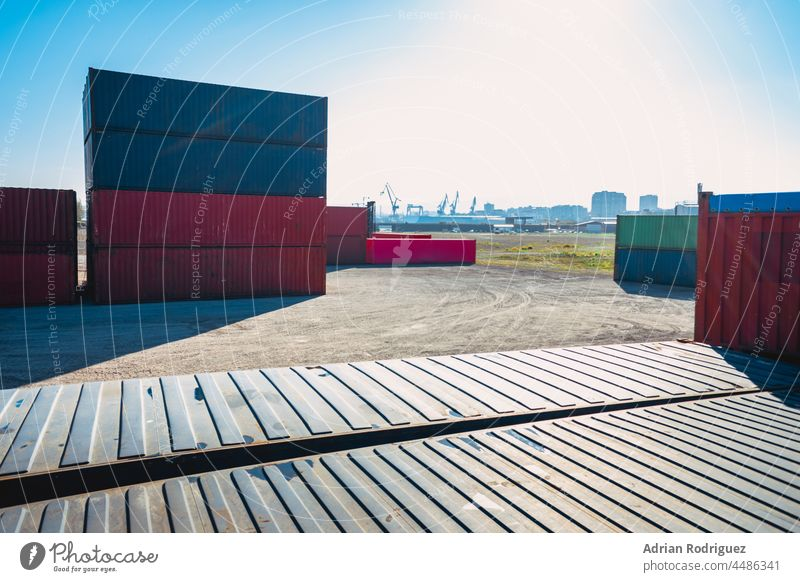 Stack of Containers Cargo Ship. Cargo Freight Shipping of Container Logistics Industry. Nautical Transport Distribution Yard, Business Commercial Dock and Transportation.