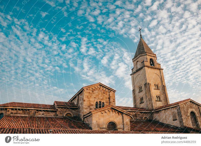 San Pedro's church in at Gijon Asturias, Spain religion walking christian gothic tower christianity clergy san catholic pedro peter streetlight architecture