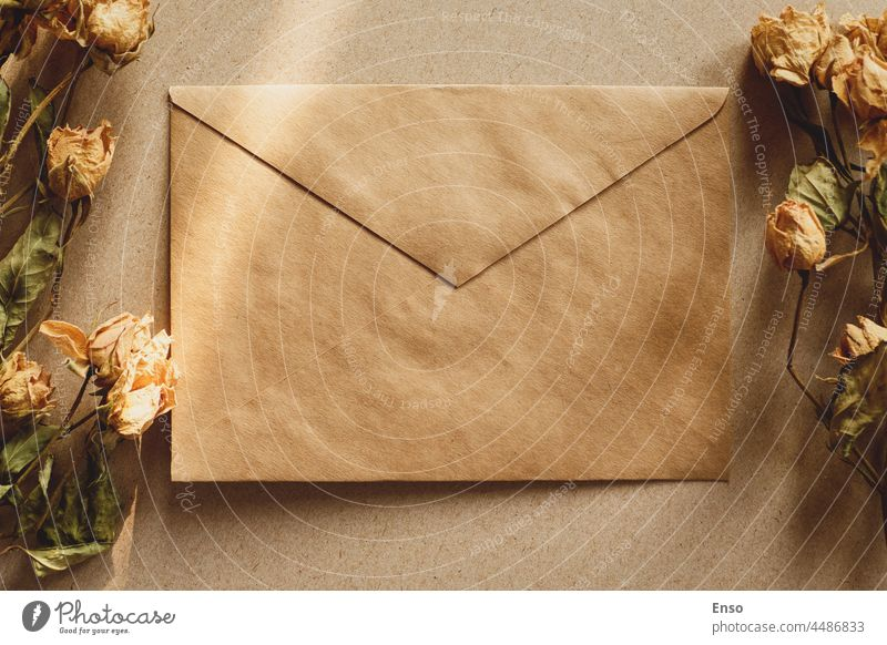 Brown paper envelope and dry flowers for vintage retro background with shadows brown craft dried nostalgia love romance message letter rose template card blank