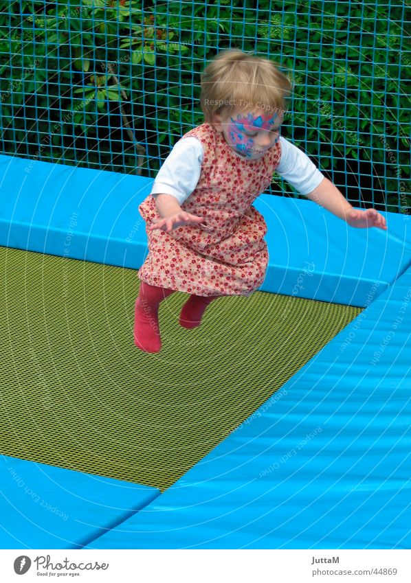 Child Blue Girl Face Movement Jump Dress Painting (action, work) Hop Trampoline Amusement Park
