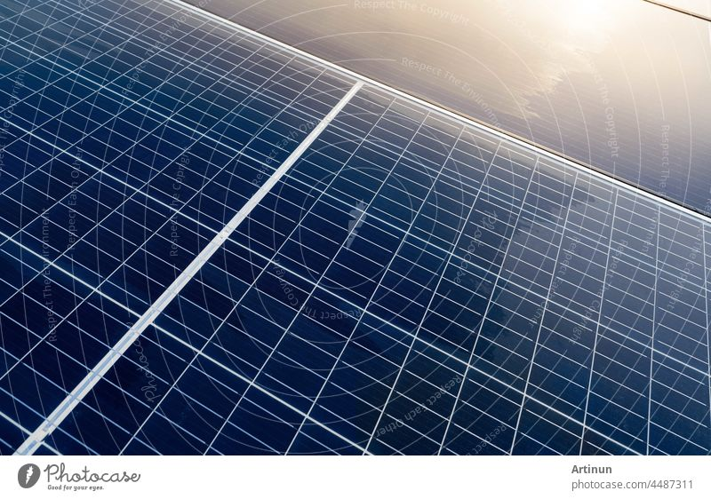 Solar panels or photovoltaic module. Solar power for green energy. Sustainable resources. Renewable energy. Clean technology. Solar cell panels use sun light as a source to generate electricity.