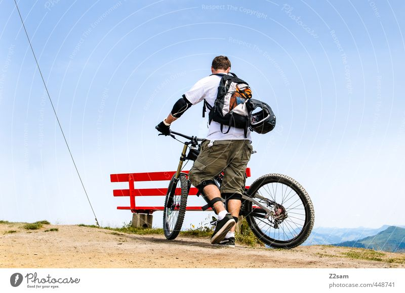 Nature Youth (Young adults) Vacation & Travel Summer Landscape Young man Adults 18 - 30 years Mountain Freedom Style Leisure and hobbies Idyll Bicycle Lifestyle Stand