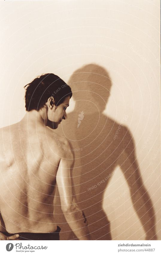 sepia guy 3 Man Naked Shoulder Brown Sepia Back Shadow