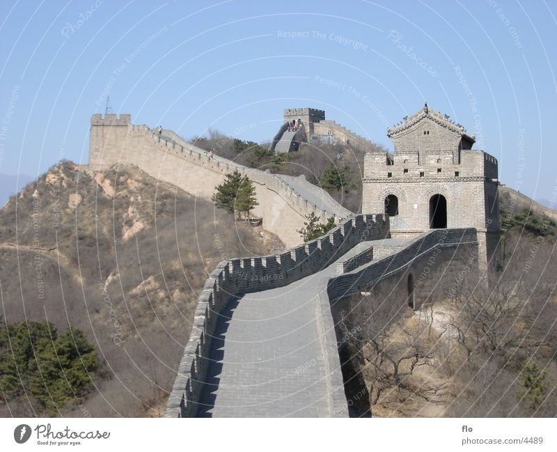 The Great Wall - China Wall (barrier) Large Bushes Merlon Ancient Architecture Stone Sky Tower great Street