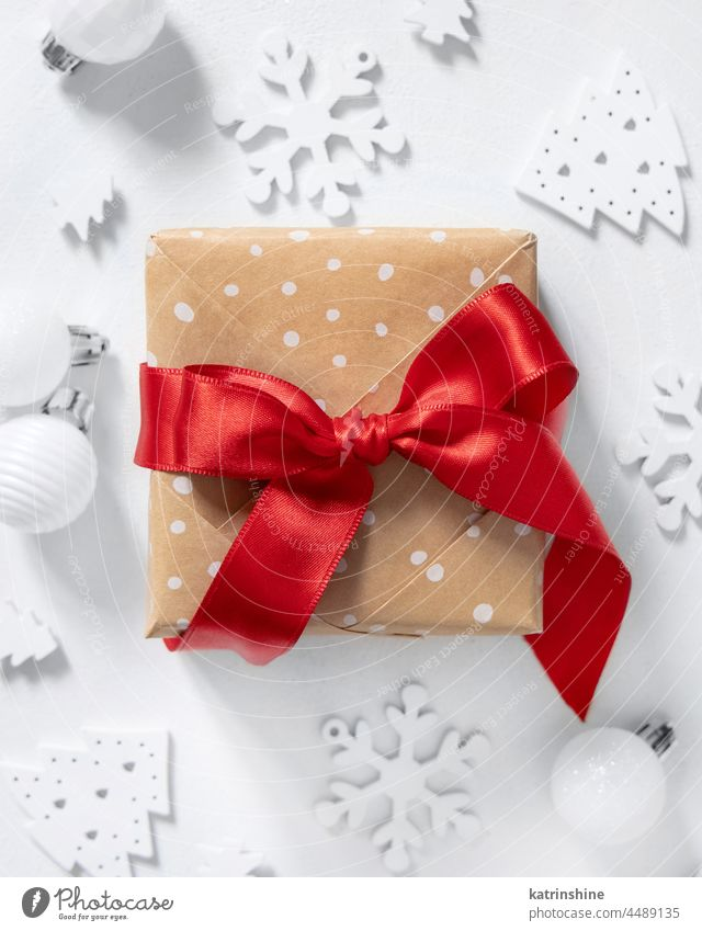 Christmas Gift Box red ribbon bow top view, Mockup christmas gift box wrapped white minimal ornament winter holiday decoration celebration package present xmas