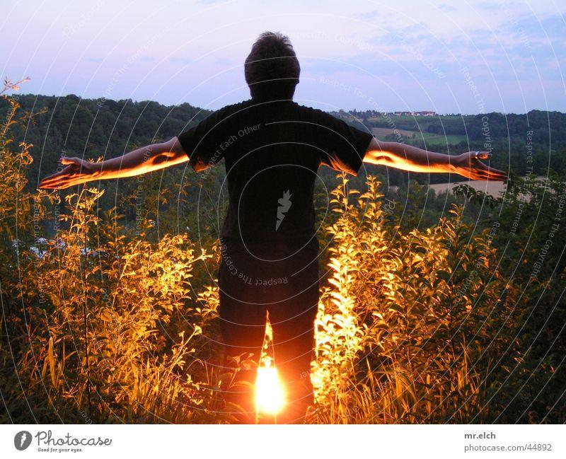 John Bandy legs Night Back-light Dusk Open-air solarium Ruined castle Zschopau Man Evening Floodlight Arm Flying Blaze Mittweida district