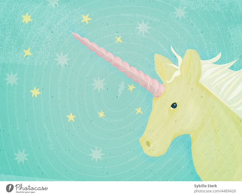 Pastel unicorn magical magical creature horse fairy tale wishes stars mane horn child happiness magic wishes yellow unicorn pastel