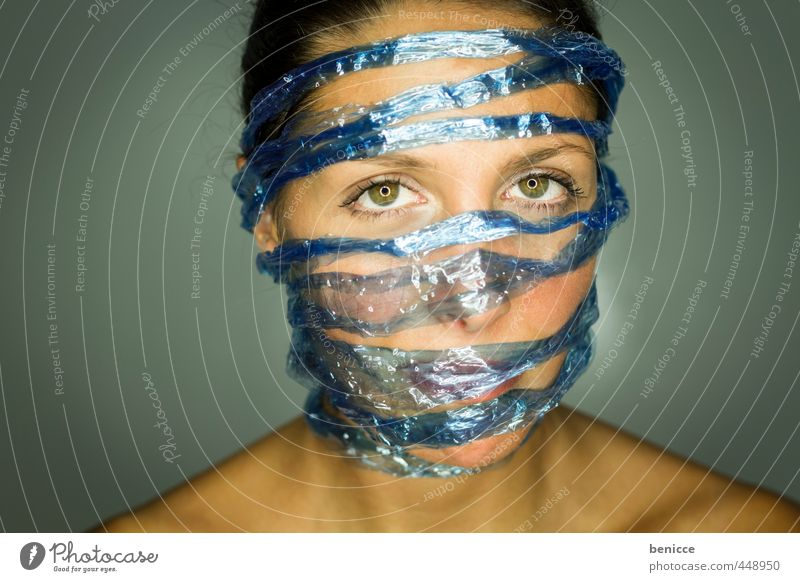 Captured by Social Media Woman Human being Portrait photograph facebook social media twitter Data protection Liberate String Rope Close-up Blue Network