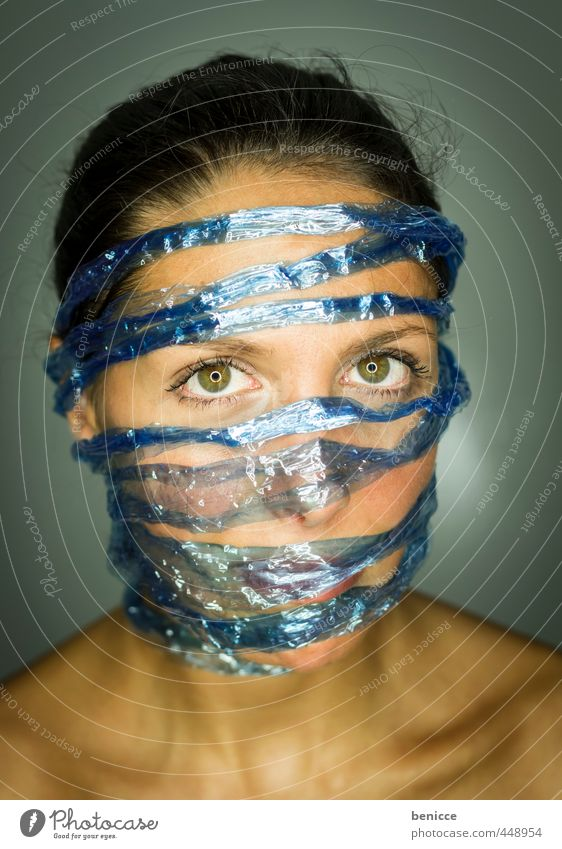 blue face Woman Human being Portrait photograph facebook social media twitter Captured Data protection Liberate Liberation String leash Close-up Blue Network
