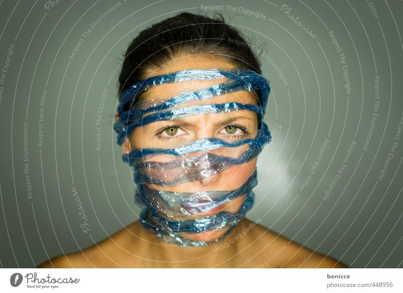 Human being Woman Blue Feminine Freedom Fear Rope String Network Workshop Computer network Captured Interlaced Penitentiary Liberate