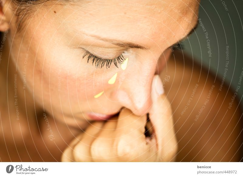 Human being Woman Beautiful Hand Face Eyes Feminine Sadness Gloomy Paper Grief Beauty Photography Anger Workshop Divide Cry