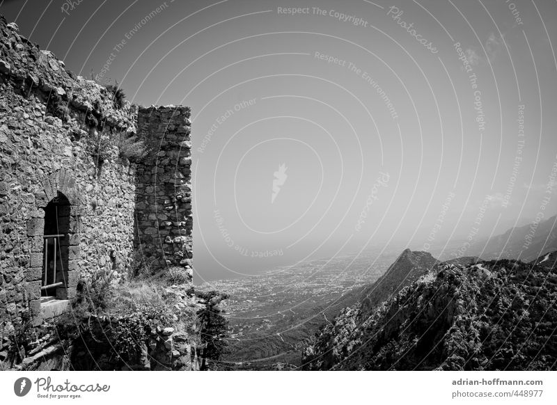 St. Hilarion Landscape Sky Hill Rock Mountain Ocean Mediterranean sea Island Cyprus North Cyprus Castle Ruin Manmade structures Building Wall (barrier)
