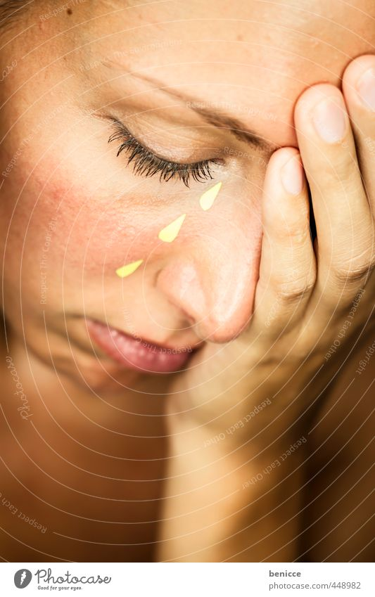 tears Woman Tears Cry Placed artificial Paper False Fraud simulate Feminine weaker Sadness Hopelessness Gloomy Face Eyes furious by hand Divorce Divide