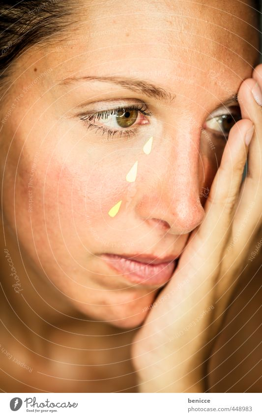 fake tears Woman Human being Tears Cry Placed Paper Feminine Close-up Workshop Studio shot Grief Sadness Hopelessness Gloomy Beautiful Beauty Photography Face