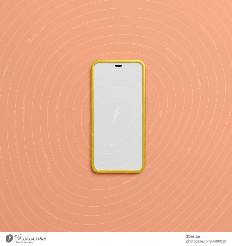 An smartphone with blank screen on pink background. 3d illustration display electronic mockup app device mobile empty isolated modern technology template white