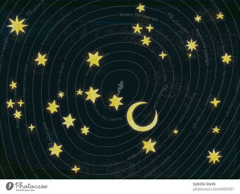 the stars above moon sky night sky wishes dreams hopes concepual magic fairy tale