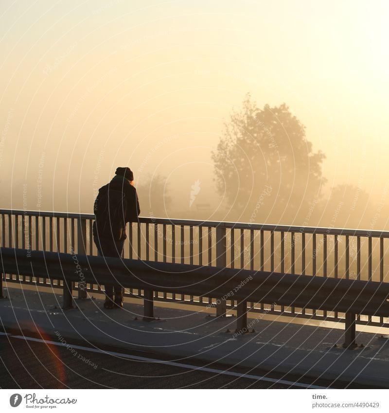 UT Teufelsmoor | Favorite Place Woman Bridge Bridge railing Sunrise Fog Sky Clouds Tree Haze Moody Peaceful Expectation Nature Cold Cap lens flair Street