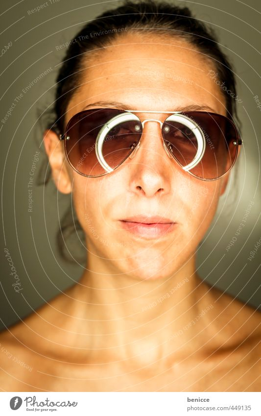 sunglasses Woman Human being Portrait photograph Sunglasses Close-up Looking into the camera Workshop Studio shot ring flash Weather protection Dark-haired