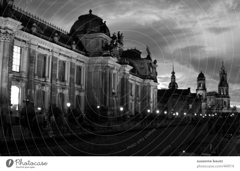 history Historic Dresden Black White Light Building House (Residential Structure) Zwinger Holy Clouds Dark Architecture Shadow